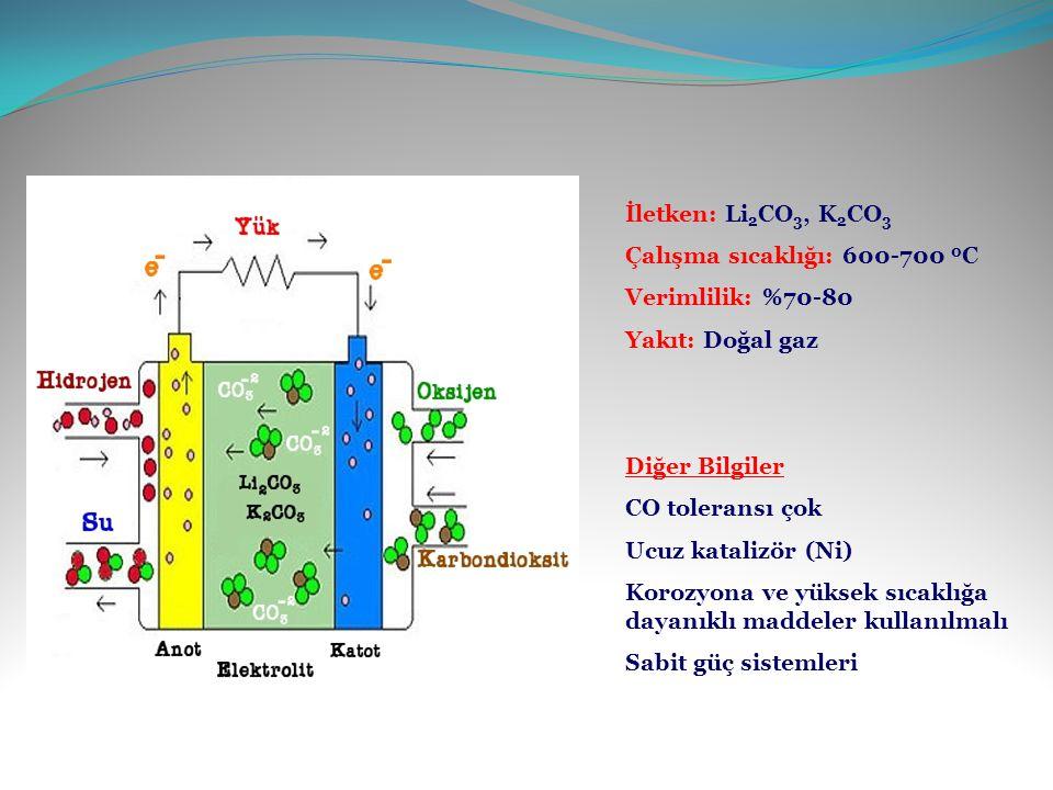 İletken: Li2CO3, K2CO3 Çalışma sıcaklığı: 600-700 0C. Verimlilik: %70-80. Yakıt: Doğal gaz. Diğer Bilgiler.