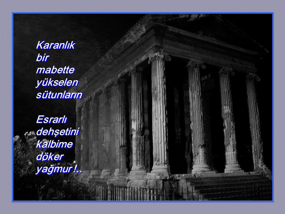 Karanlık bir mabette yükselen sütunların Esrarlı dehşetini kalbime döker yağmur !..