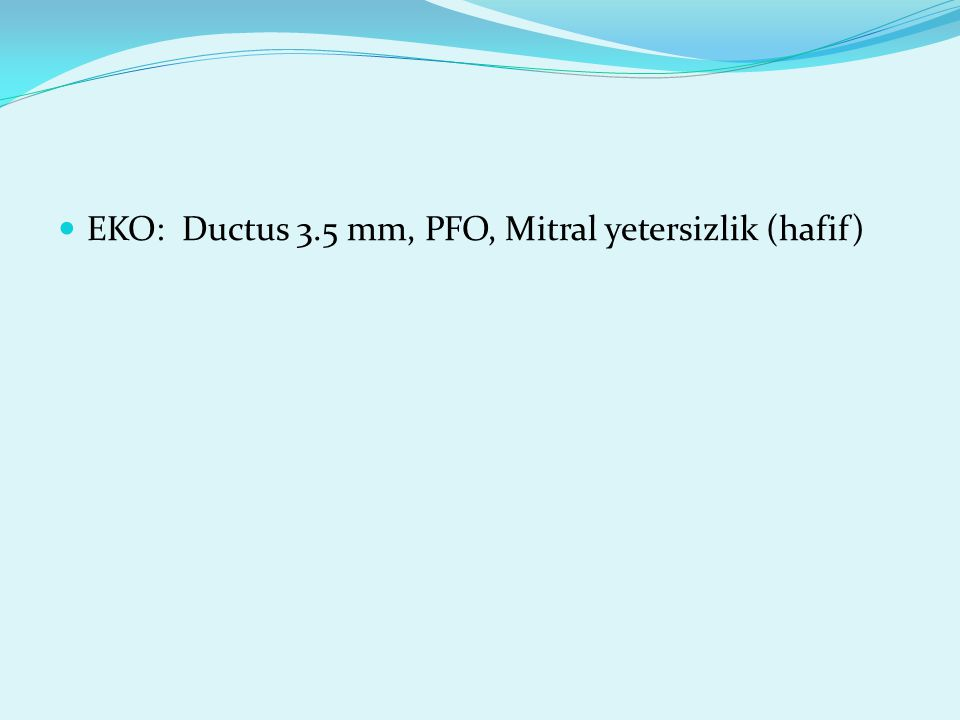 EKO: Ductus 3.5 mm, PFO, Mitral yetersizlik (hafif)