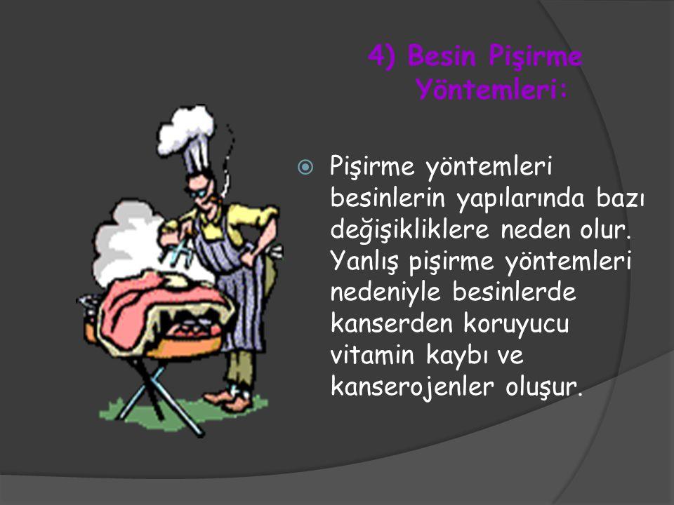 4) Besin Pişirme Yöntemleri: