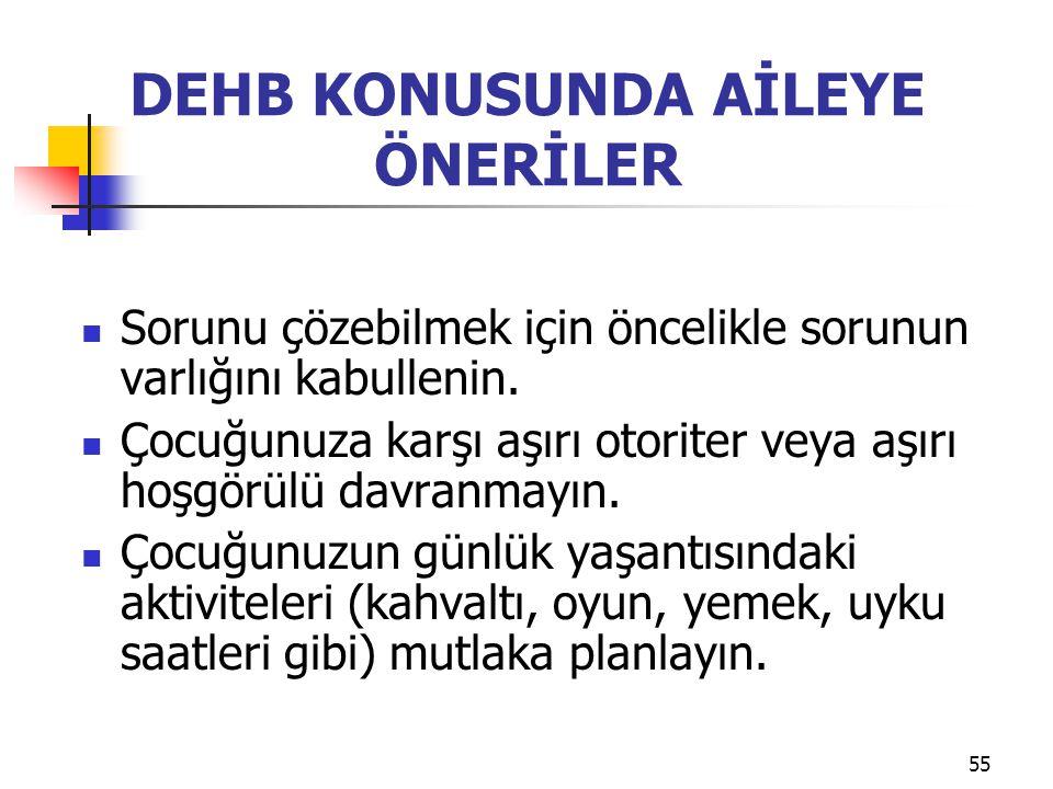 DEHB KONUSUNDA AİLEYE ÖNERİLER