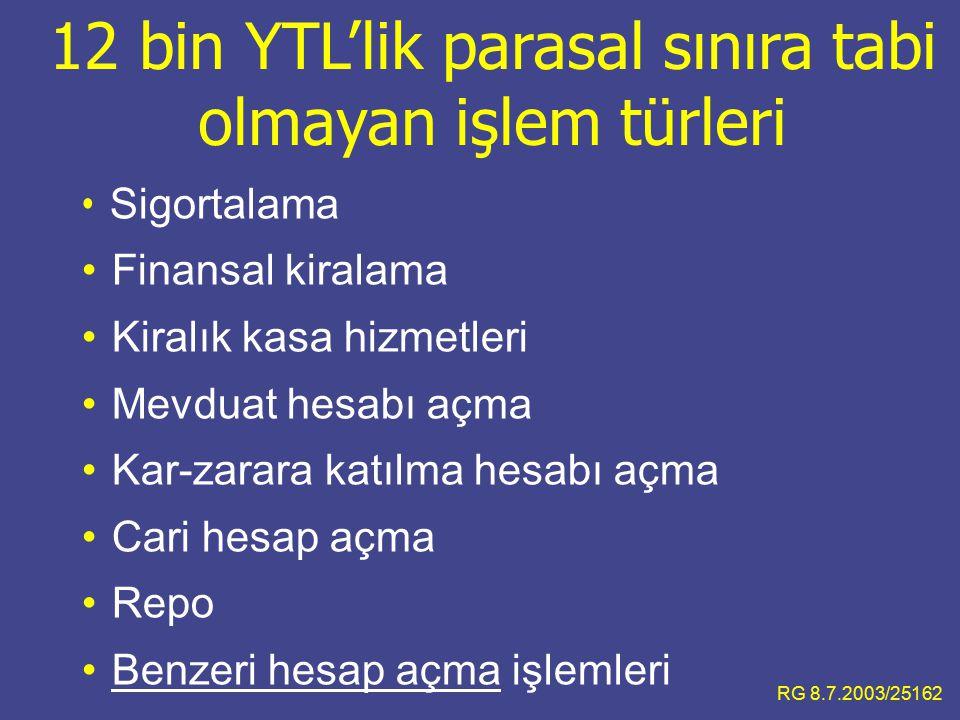 12 bin YTL'lik parasal sınıra tabi olmayan işlem türleri