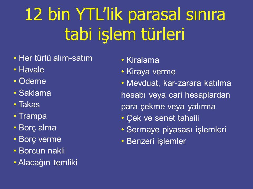 12 bin YTL'lik parasal sınıra tabi işlem türleri
