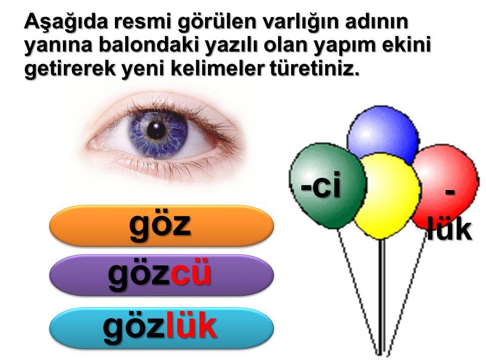 -ci göz gözcü gözlük -lük