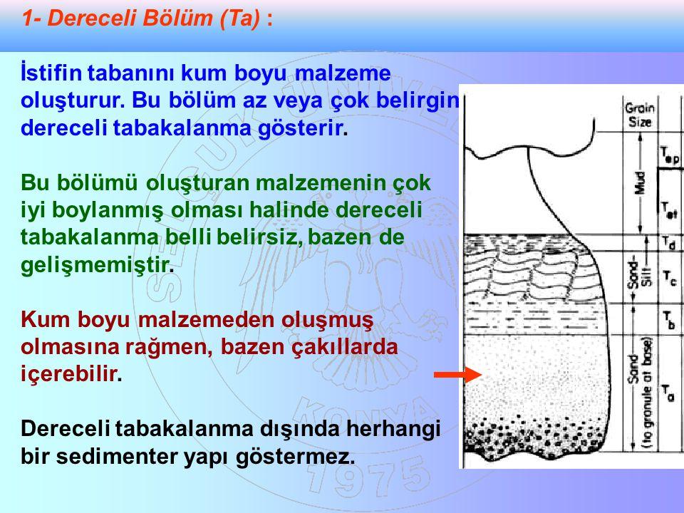 1- Dereceli Bölüm (Ta) : İstifin tabanını kum boyu malzeme oluşturur. Bu bölüm az veya çok belirgin dereceli tabakalanma gösterir.