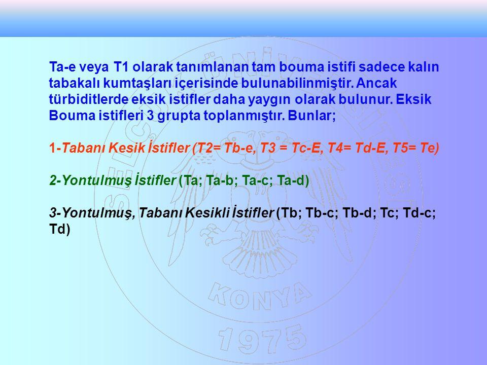 Ta-e veya T1 olarak tanımlanan tam bouma istifi sadece kalın tabakalı kumtaşları içerisinde bulunabilinmiştir. Ancak türbiditlerde eksik istifler daha yaygın olarak bulunur. Eksik Bouma istifleri 3 grupta toplanmıştır. Bunlar;