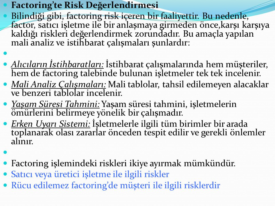 Factoring'te Risk Değerlendirmesi