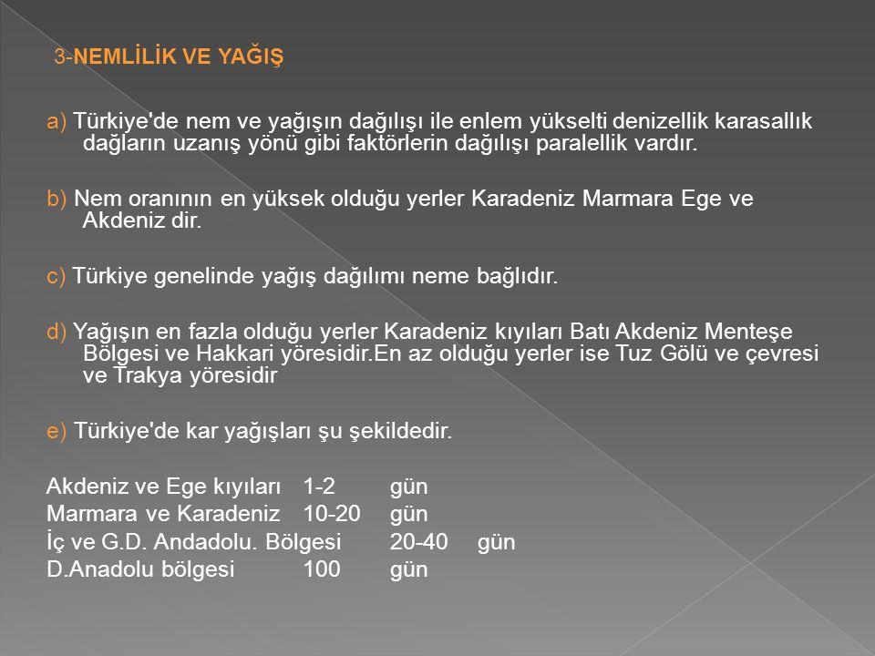 c) Türkiye genelinde yağış dağılımı neme bağlıdır.