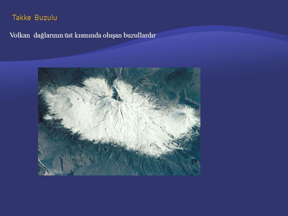 Takke Buzulu Volkan dağlarının üst kısmında oluşan buzullardır