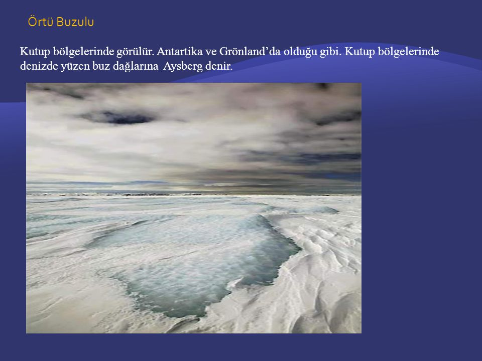 Örtü Buzulu Kutup bölgelerinde görülür. Antartika ve Grönland'da olduğu gibi.