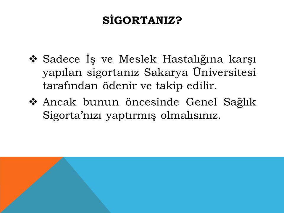 SİgortanIz Sadece İş ve Meslek Hastalığına karşı yapılan sigortanız Sakarya Üniversitesi tarafından ödenir ve takip edilir.