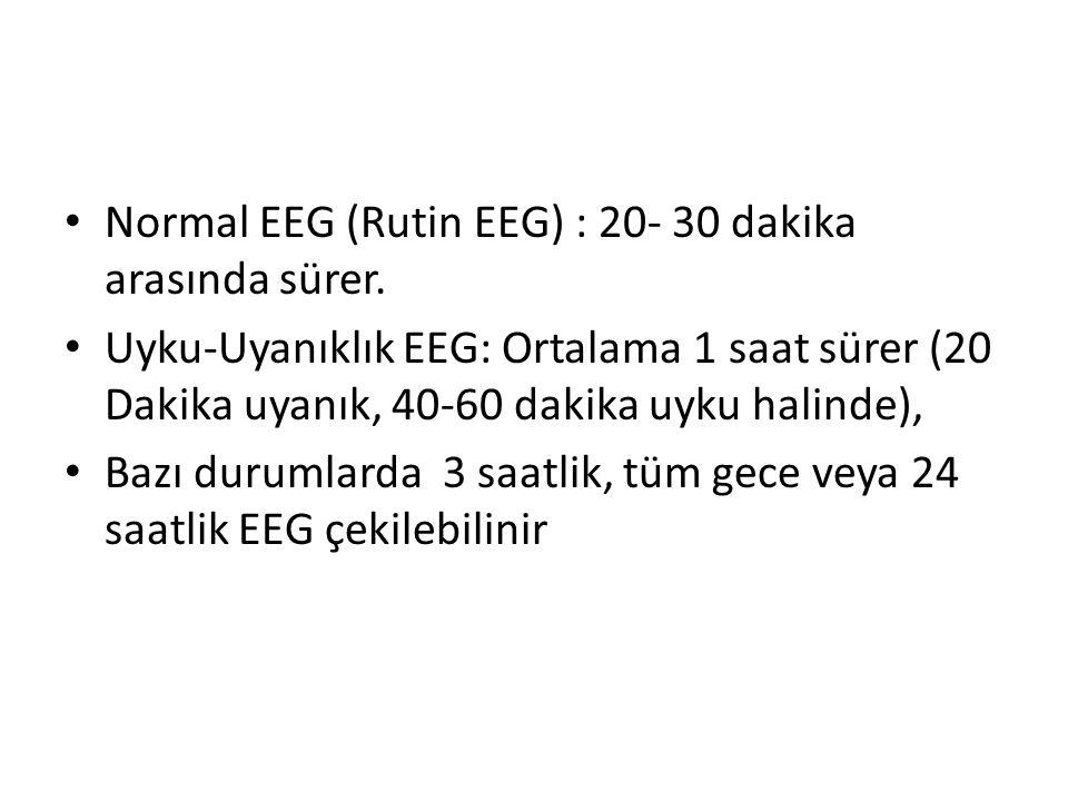 Normal EEG (Rutin EEG) : 20- 30 dakika arasında sürer.