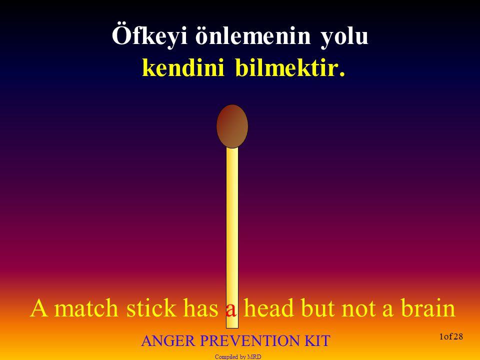 Öfkeyi önlemenin yolu kendini bilmektir.
