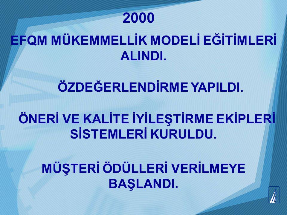 2000 EFQM MÜKEMMELLİK MODELİ EĞİTİMLERİ ALINDI.