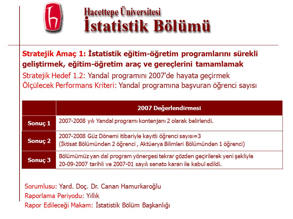 Stratejik Amaç 1: İstatistik eğitim-öğretim programlarını sürekli