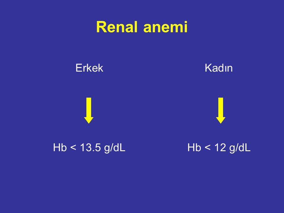 Renal anemi Erkek Hb < 13.5 g/dL Kadın Hb < 12 g/dL