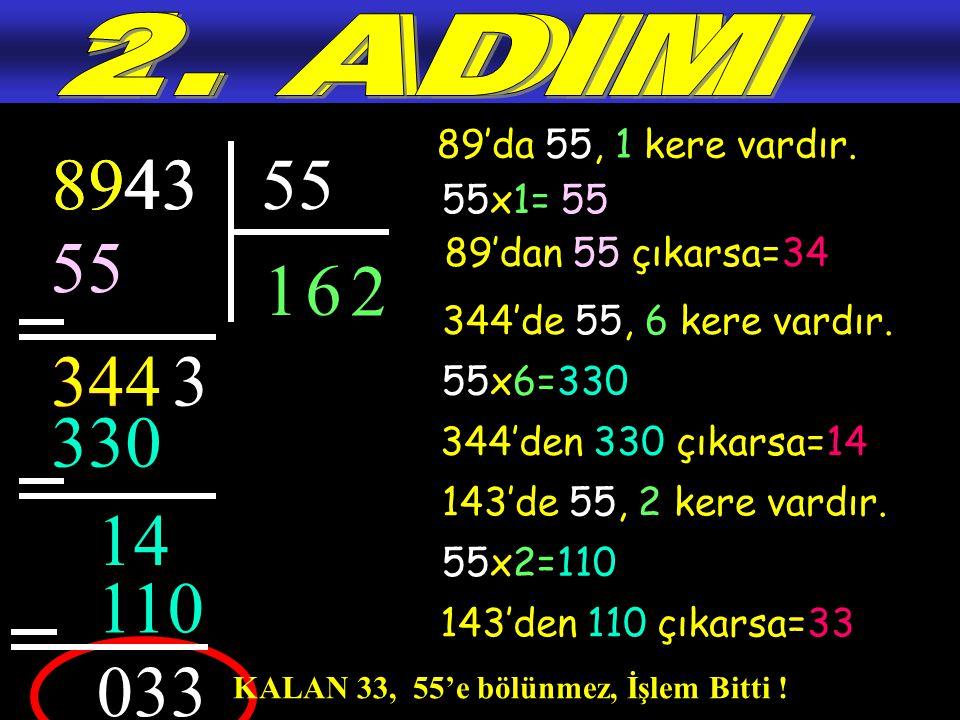 2. ADIM 1. ADIM. 89'da 55, 1 kere vardır. 894. 8943. 4. 3. 55. 55x1= 55. 55. 89'dan 55 çıkarsa=34.