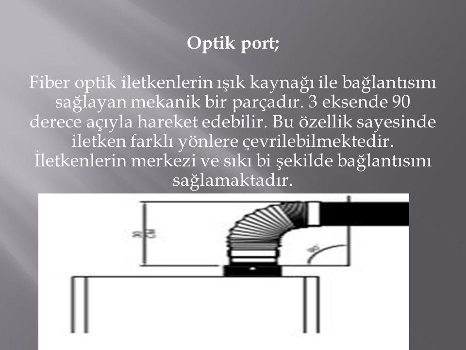 Optik port; Fiber optik iletkenlerin ışık kaynağı ile bağlantısını sağlayan mekanik bir parçadır.