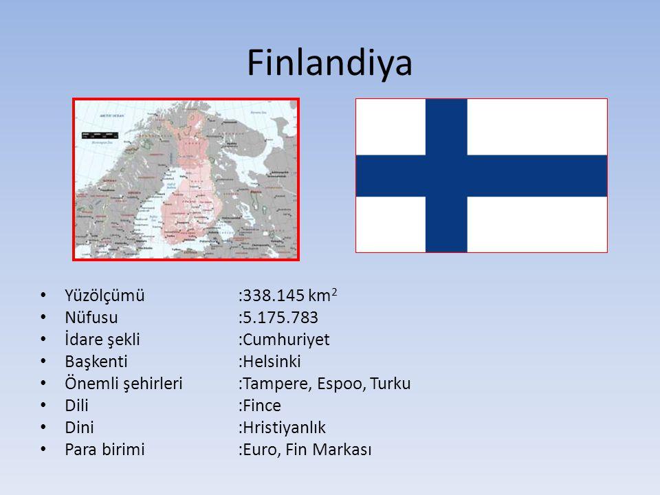 Finlandiya Yüzölçümü :338.145 km2 Nüfusu :5.175.783