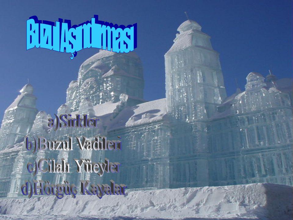 Buzul Aşındırması a)Sirkler b)Buzul Vadileri c)Cilalı Yüeyler d)Hörgüç Kayalar