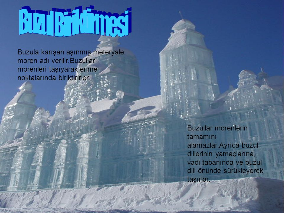 Buzul Biriktirmesi Buzula karışan aşınmış meteryale moren adı verilir.Buzullar morenleri taşıyarak erime noktalarında biriktirirler.