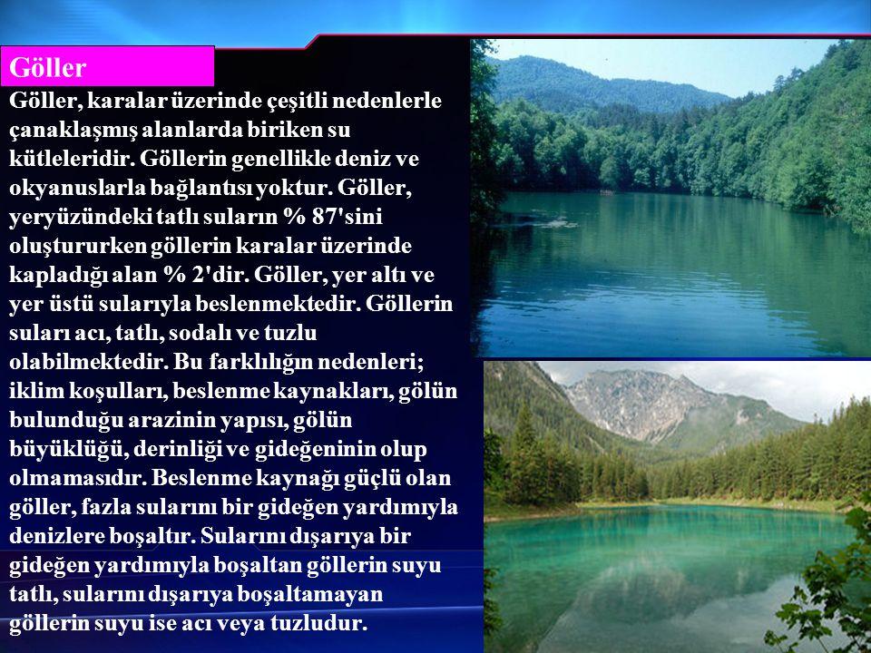 Göller Göller, karalar üzerinde çeşitli nedenlerle