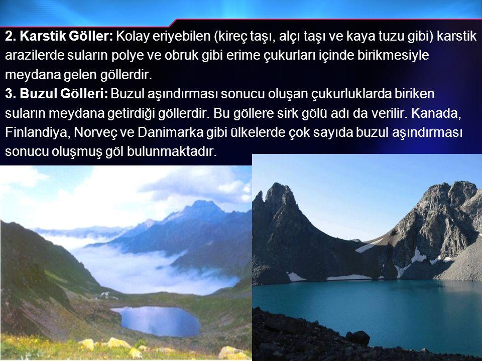 2. Karstik Göller: Kolay eriyebilen (kireç taşı, alçı taşı ve kaya tuzu gibi) karstik