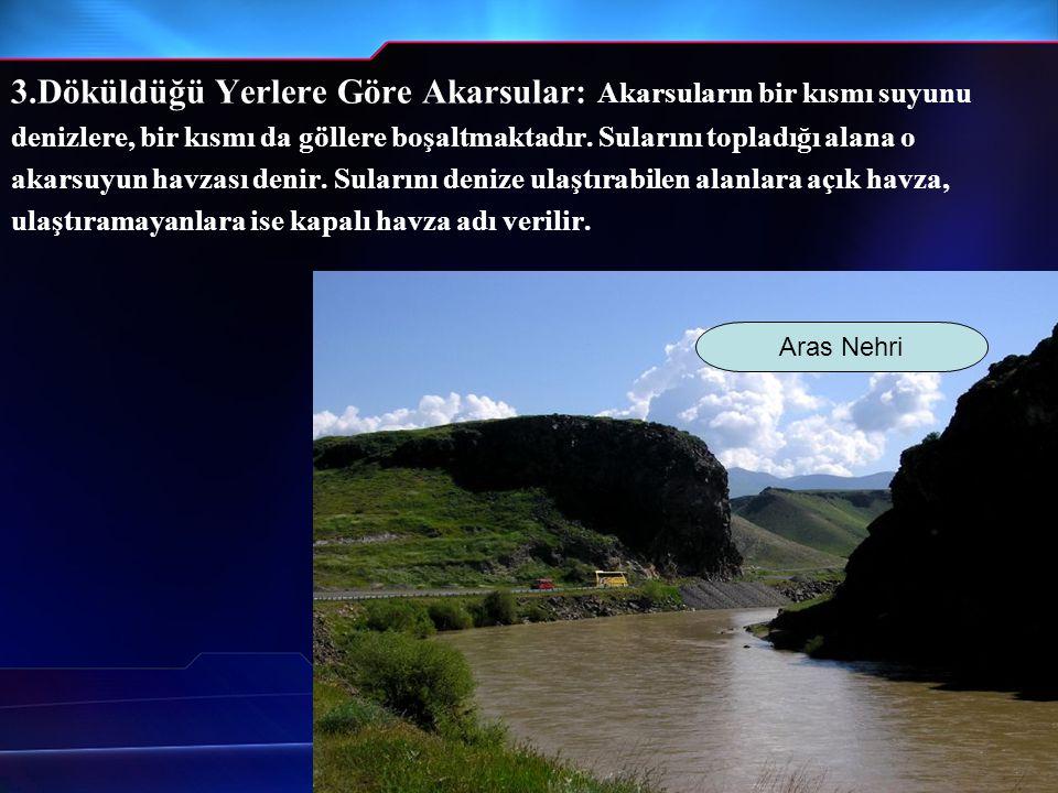 3.Döküldüğü Yerlere Göre Akarsular: Akarsuların bir kısmı suyunu
