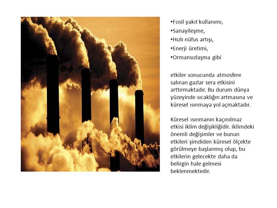 Fosil yakıt kullanımı, Sanayileşme, Hızlı nüfus artışı, Enerji üretimi, Ormansızlaşma gibi.