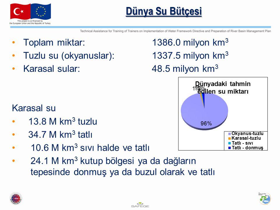 Dünya Su Bütçesi Toplam miktar: 1386.0 milyon km3