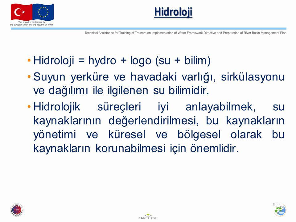 Hidroloji Hidroloji = hydro + logo (su + bilim) Suyun yerküre ve havadaki varlığı, sirkülasyonu ve dağılımı ile ilgilenen su bilimidir.