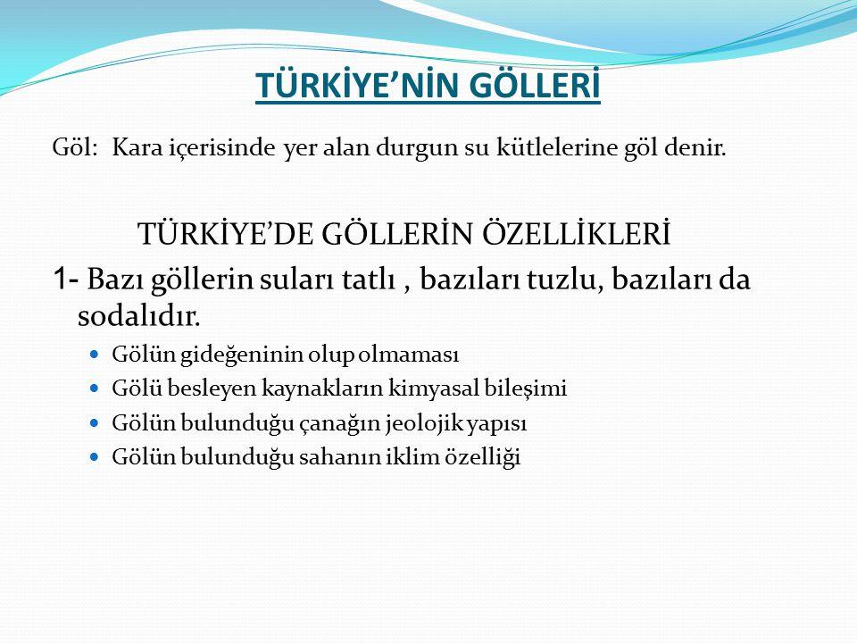 TÜRKİYE'NİN GÖLLERİ TÜRKİYE'DE GÖLLERİN ÖZELLİKLERİ