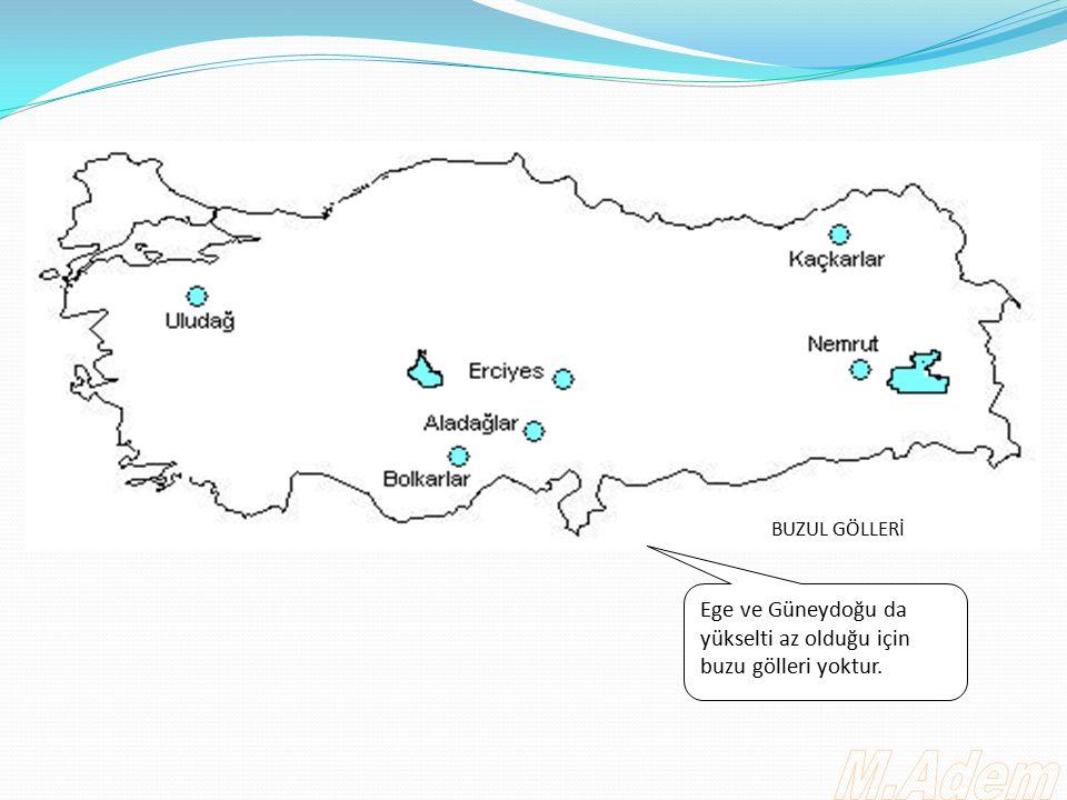 BUZUL GÖLLERİ Ege ve Güneydoğu da yükselti az olduğu için buzu gölleri yoktur. M.Adem