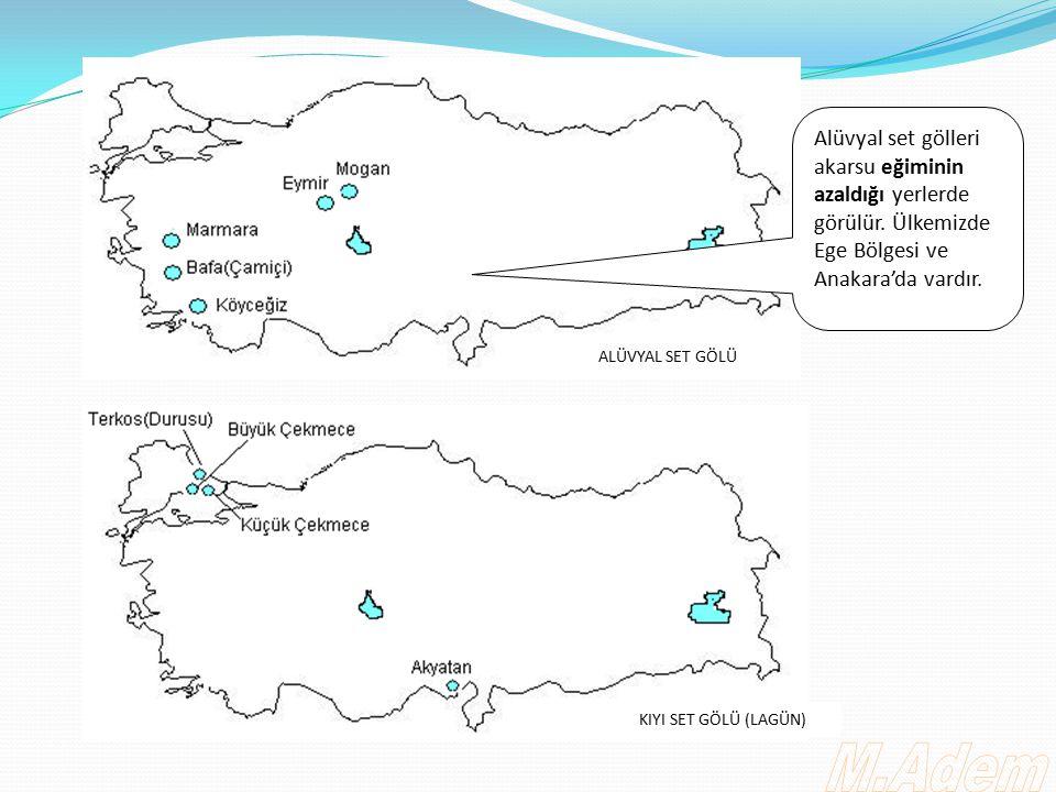 Alüvyal set gölleri akarsu eğiminin azaldığı yerlerde görülür