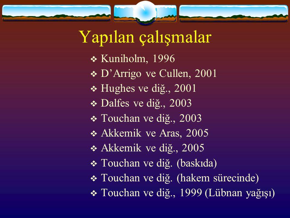 Yapılan çalışmalar Kuniholm, 1996 D'Arrigo ve Cullen, 2001