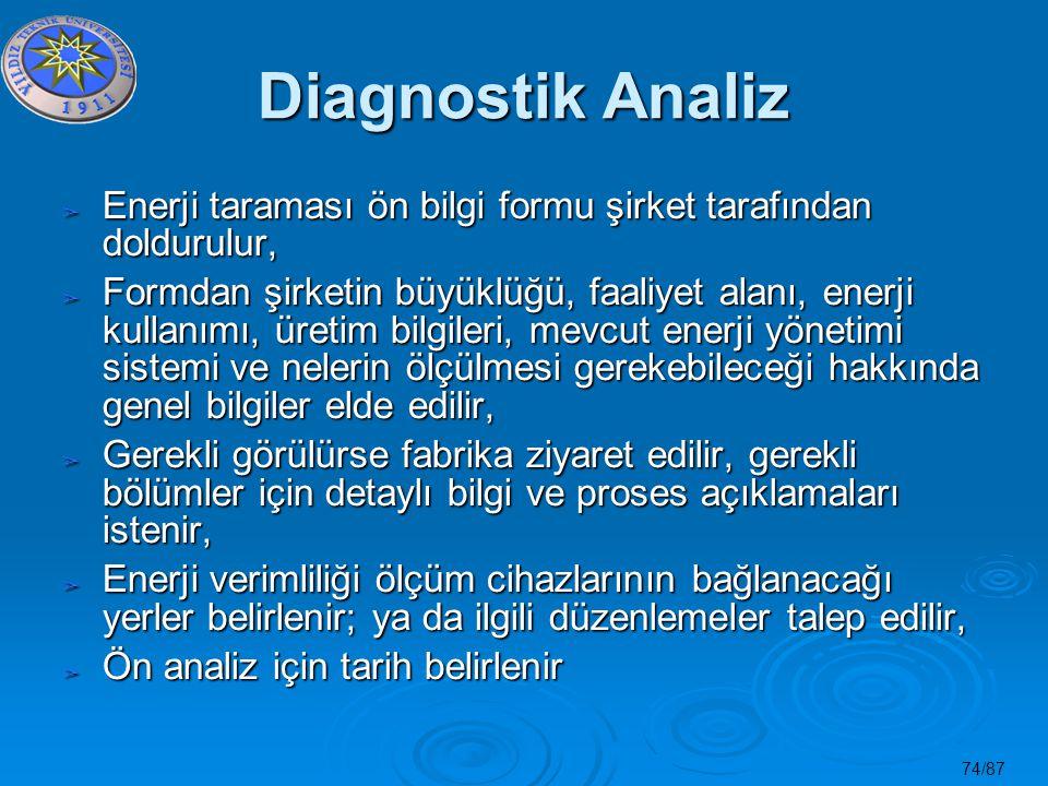 Diagnostik Analiz Enerji taraması ön bilgi formu şirket tarafından doldurulur,
