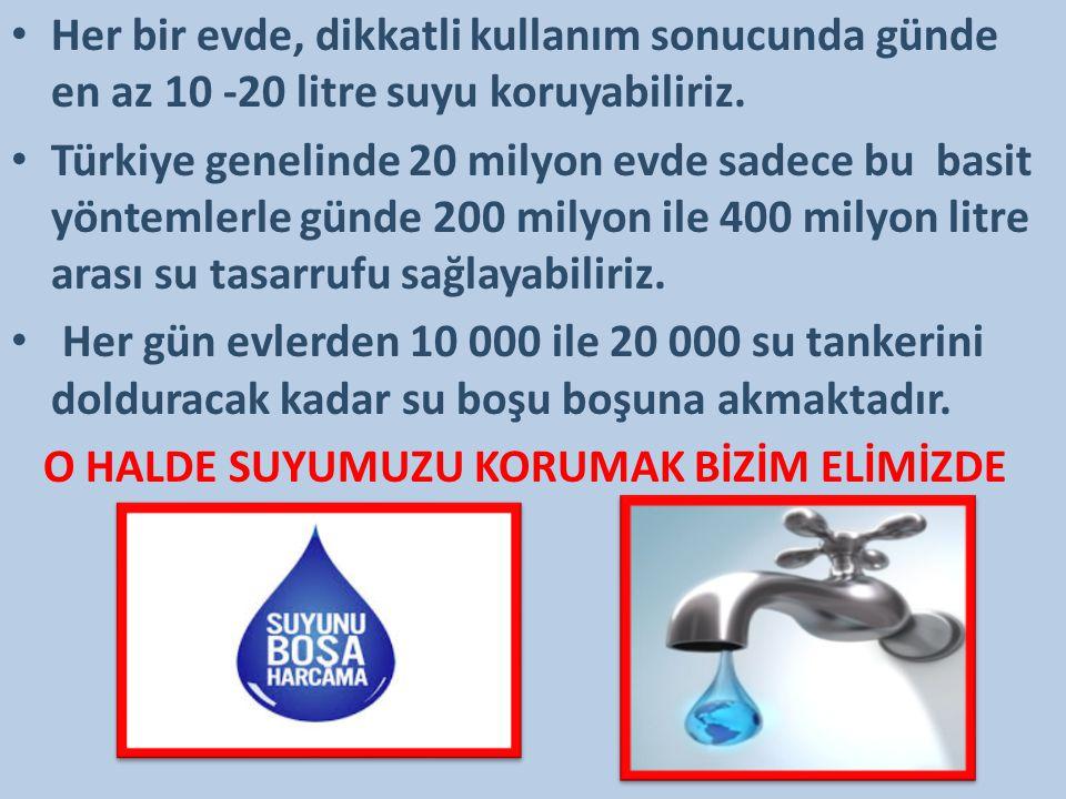 Her bir evde, dikkatli kullanım sonucunda günde en az 10 -20 litre suyu koruyabiliriz.
