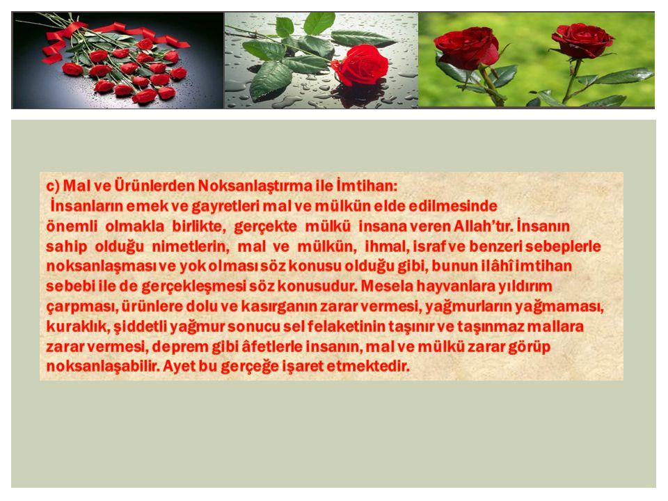 c) Mal ve Ürünlerden Noksanlaştırma ile İmtihan: