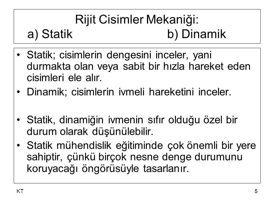 Rijit Cisimler Mekaniği: a) Statik b) Dinamik