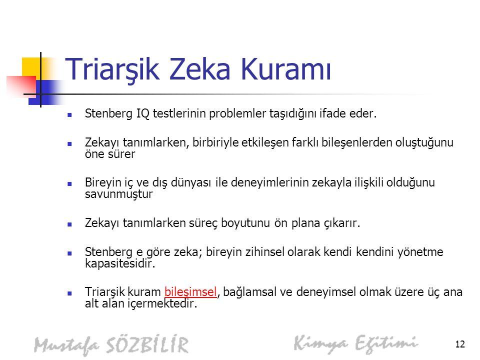Triarşik Zeka Kuramı Stenberg IQ testlerinin problemler taşıdığını ifade eder.