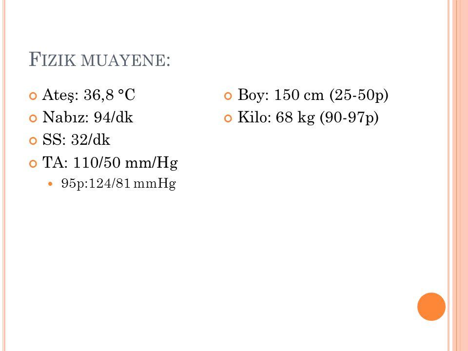 Fizik muayene: Ateş: 36,8 °C Nabız: 94/dk SS: 32/dk TA: 110/50 mm/Hg