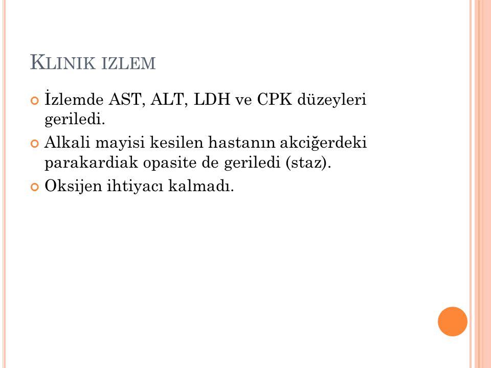 Klinik izlem İzlemde AST, ALT, LDH ve CPK düzeyleri geriledi.