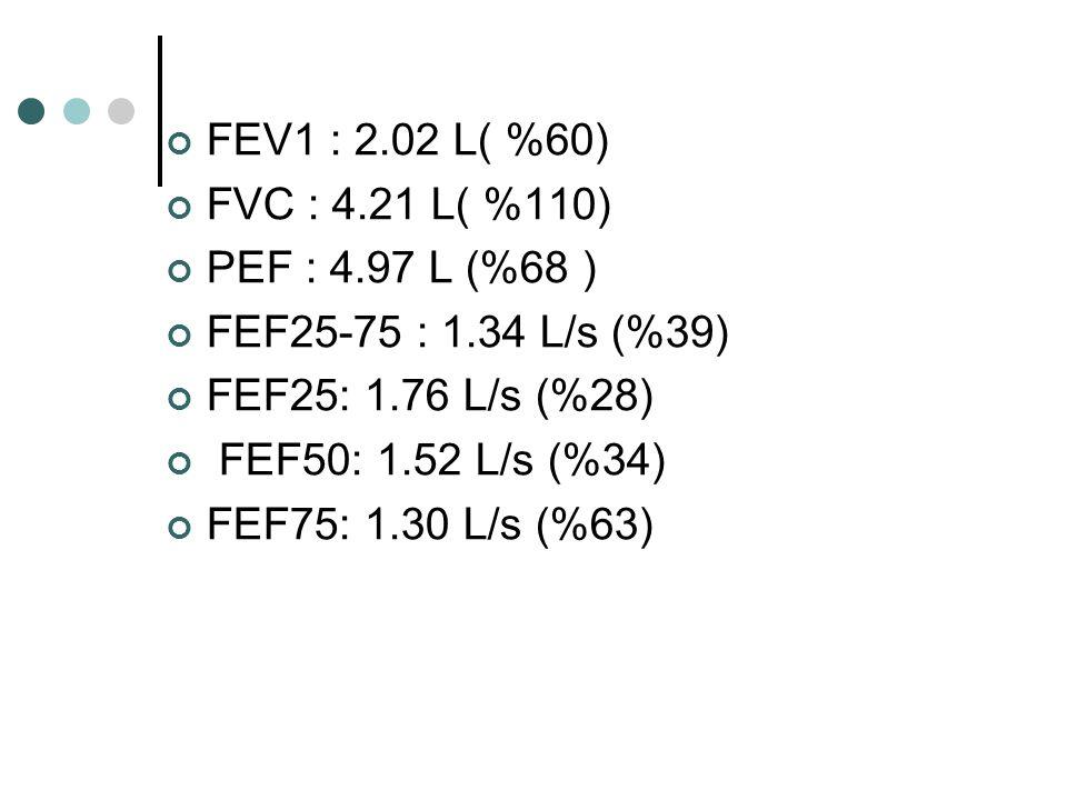 FEV1 : 2.02 L( %60) FVC : 4.21 L( %110) PEF : 4.97 L (%68 ) FEF25-75 : 1.34 L/s (%39) FEF25: 1.76 L/s (%28)