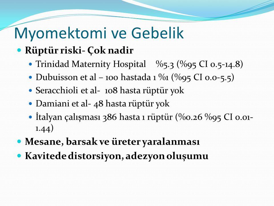 Myomektomi ve Gebelik Rüptür riski- Çok nadir