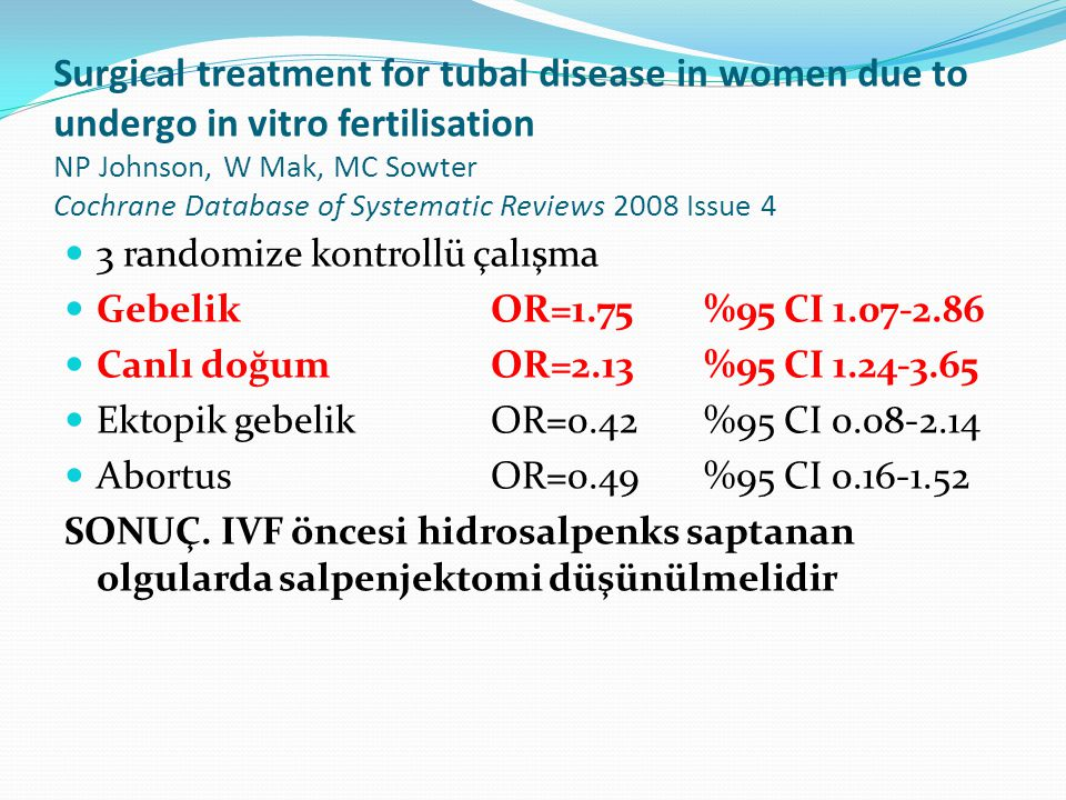 Surgical treatment for tubal disease in women due to undergo in vitro fertilisation NP Johnson, W Mak, MC Sowter Cochrane Database of Systematic Reviews 2008 Issue 4