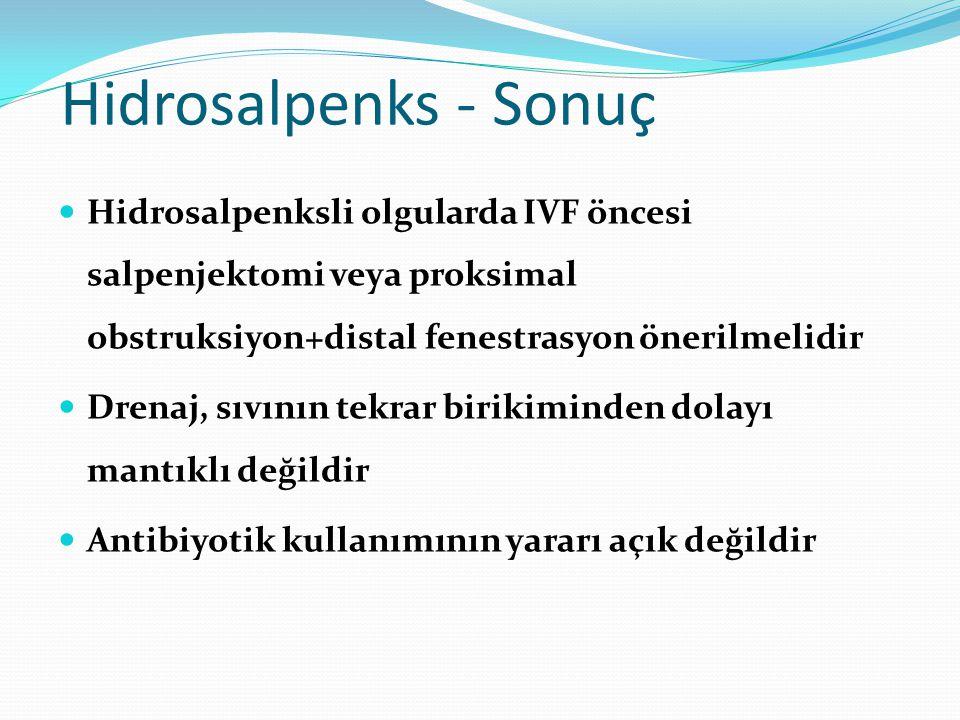 Hidrosalpenks - Sonuç Hidrosalpenksli olgularda IVF öncesi salpenjektomi veya proksimal obstruksiyon+distal fenestrasyon önerilmelidir.