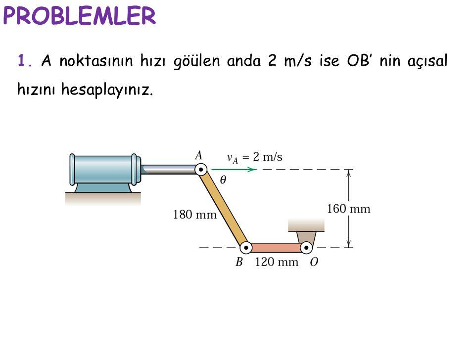 PROBLEMLER 1. A noktasının hızı göülen anda 2 m/s ise OB' nin açısal hızını hesaplayınız.