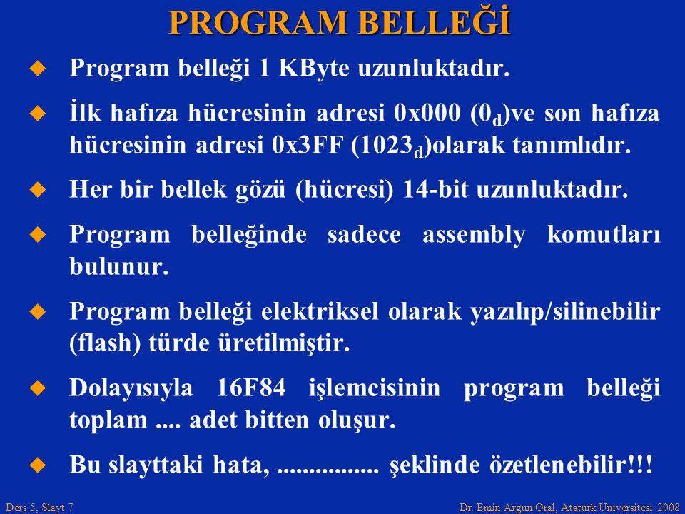 PROGRAM BELLEĞİ Program belleği 1 KByte uzunluktadır.