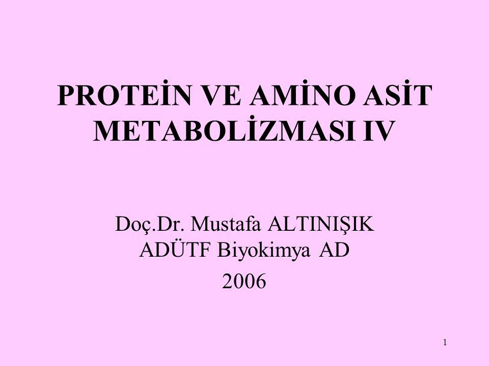 PROTEİN VE AMİNO ASİT METABOLİZMASI IV