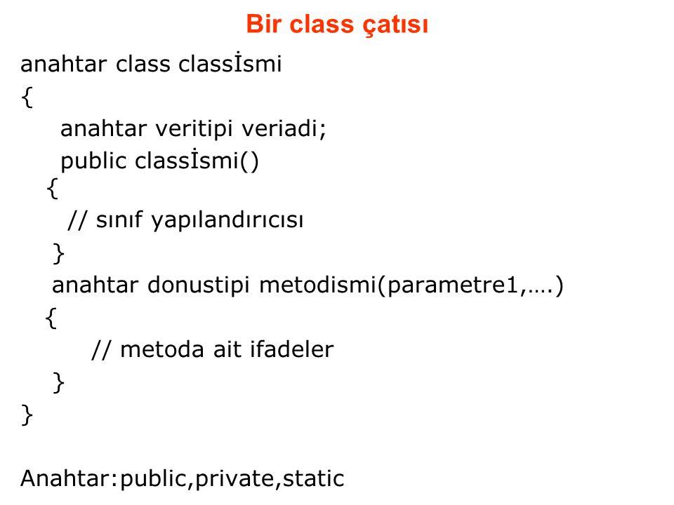 Bir class çatısı anahtar class classİsmi { anahtar veritipi veriadi;